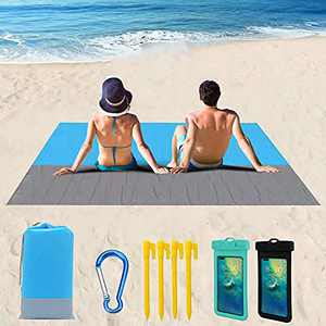 Sand-Free Beach Blanket,Large Size 79X 83 inch Waterproof and Sand-Proof Beach mat,Suitable for 4-7 Adults,Portable Picnic Blanket,Camping,Hiking Outdoor Blanket,with 2 Waterproof Mobile Phone Bags