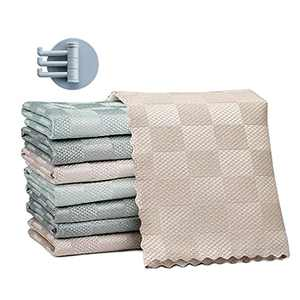 Microfiber Glass Cleaning Cloths, 8 Pcs Fish Scale Rags Microfiber Polishing Cleaning Cloth, Easy Clean Cloth for Window Mirrors & Windshields Lint Free Towel