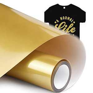 "HTV Vinyl Rolls Heat Transfer Gold Vinyl for Shirts Iron on Vinyl Bundle for Heat Press 12""X 12ft Heat Transfer Vinyl Bundle for Cricut Maker Machine Easy to Cut & Weed for Heat Vinyl Design"