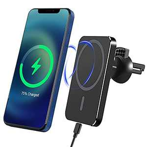 Magnetic Wireless Car Mount Charger, 15W Fast Charge Auto-Alignment Air Vent Phone Holder Stand 360° Rotation Compatible with iPhone 12/13 Mini/Pro/Pro Max
