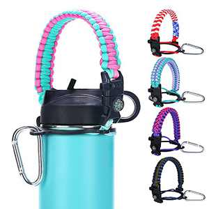 MONOBIN Paracord Handle Strap - Fits Wide Mouth Bottles 12oz to 64oz - Multicolor Durable Hydro Carrier, Flask Water Bottle Paracord Carrier Strap with Safety Ring, Compass and Carabiner (Pink&Teal)