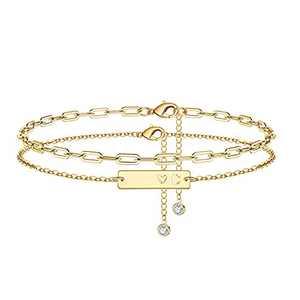 Initial Ankle Bracelets for Women, 14K Gold Plateded Link Chain Initial Anklets for Women Gold Anklets Layered Ankle Bracelets for Women Initial Anklet Alphabet Ankle Bracelets for Teen Girls (C)