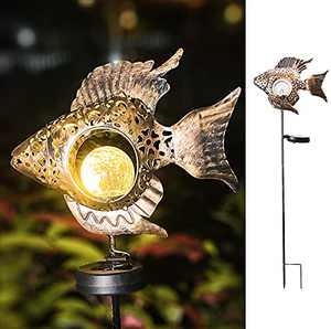 Garden Solar Lights Metal Fish Crackle Glass Globe Stake Lights Metal Stakes Lights Crackle Glass Light for Lawn, Yard Art, Pathway, Patio Decor(Bronze) (Fish-Bronze/A)