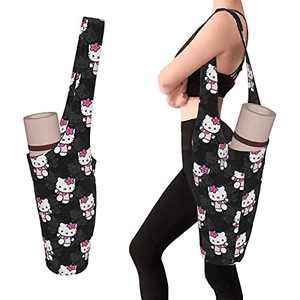 QIEARA Hello Kitty Fashion Personality Yoga Mat Bag with Large Size Pocket, Fit Most Size Mats