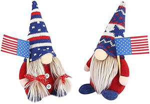 Patriotic Gnome Doll 4th of July Tomte Handmade Plush Gift American Independence Day Veterans President Election Decorations (A)