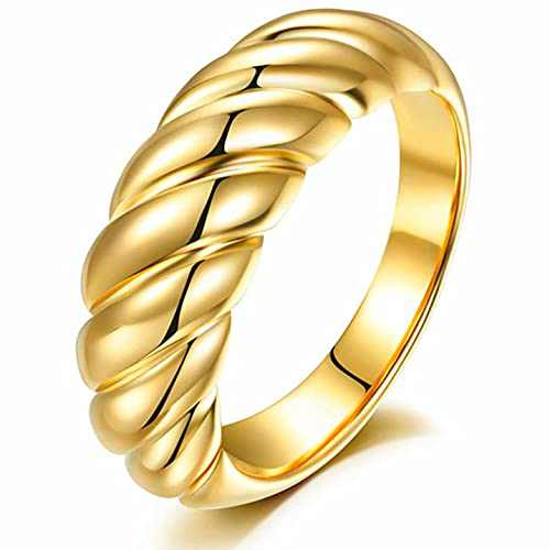 18k Gold Croissant Dome Signet Ring for Women Minimalist Twist Chunky Ring Size 9