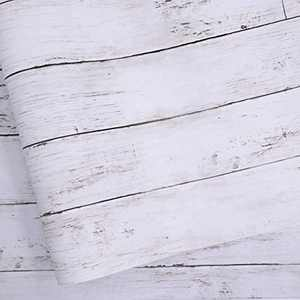 White Gray Wood Paper 17.71 in X 511.8 in Self-Adhesive Removable Wood Peel and Stick Wallpaper Decorative Wall Covering Vintage Wood Panel Interior Film for Christmas Decoration
