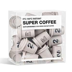 SATURNBIRD Instant Coffee Light-Medium Roast, Iced Coffee Cold Brew, 100% Arabica Powder, 24 Single Serve Packs for Camping Traveling