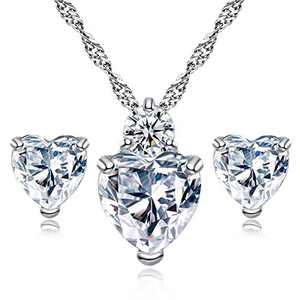love zircon pendant set, necklace + earrings, suitable for ladies and girls, birthday and anniversary gifts