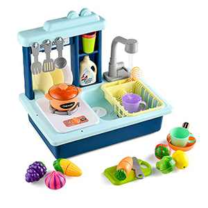 Toy Choi's Play Sink with Running Water - Pretend Play Kitchen Blue Toy Sink Sets for Toddlers with Automatic Water Cycle System, Play Cutting Food, Cooking Stove Play Accessories for Boys Girls