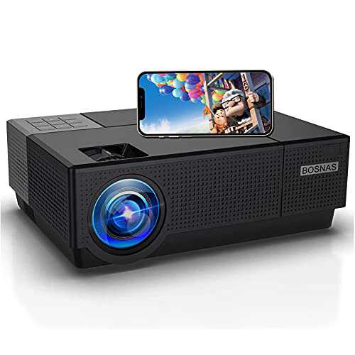 """Projector, BOSNAS 8000 Lux Home Video Projectors, 1920×1080P, Support 300"""" Screen Playing with Hi-Fi Speakers and 4-D Keystone Correction, Compatible with TV Stick/Phone/Laptop/DVD Player/PS4"""