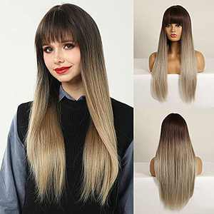 CAUGHTOO Long Straight Wig with Bangs Dark Ash Blonde Wig Synthetic Wigs for Women Long Straight Wig Ombre Dark Ash Blonde wig for Daily Party Use 28Inch(Dark Ash Blonde)