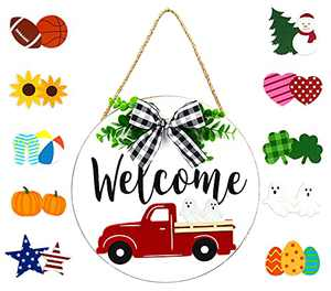 AliveCotruck Red Truck Welcome Sign for Front Door Wooden Wall Decor Sweet Home Sign with 10PCS Pendant Seasonal Holiday Inserts Hanging Indoor Rustic Home Decor for Porch Farmhouse Hello Sign(White)