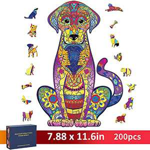 Wooden Puzzles for Adults, CGELETS 200 Pieces Unique Animal Shaped Wooden Jigsaw Puzzles, Challenging Family Activity Birthday Gift for Adults and Kids, Ideal Home Decor (Labrador,7.9'' x 12'')