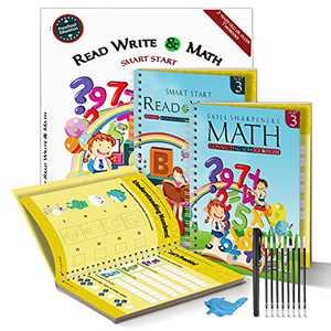 "EPCQUYIN 2 PC 11"" X 8"" Magic Practice Copybook Reusable Writing Practice Book Alphabet & Math Calligraphy Set Kids Early Education Materials English Handwriting Workbook with Pens"