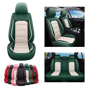 SOGLOTY Leather Car Seat Covers Leatherette Automotive Vehicle Cushion Cover for Cars SUV Pick-up Truck Universal Seat Protector Waterproof Full Set with Airbags Compatible (Green White)