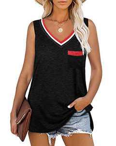 Womens Plus Size V Neck Tank Tops Sleeveless T Shirts Side Split Summer Basic Tunics with Pockets