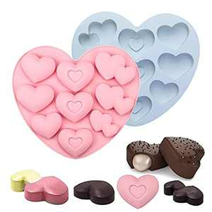 Chocolate Mould, Heart Mould, Icekids Love Heart Silicone Moulds with 3 Shapes&9 Holes, DIY Baking Moulds for Chocolate, Jelly, Mousse, Pink&Gray