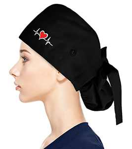 Fesciory Adjustable Working Caps with Button & Sweatband, Women Ponytail Pouch Hats, Long Hair(Heart ECG)