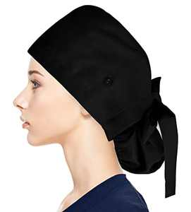 Fesciory Adjustable Working Caps with Button & Sweatband, Women Ponytail Pouch Hats, Long Hair(Black)