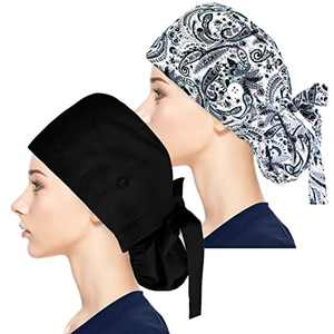 Fesciory Adjustable Working Caps with Button & Sweatband, Women Ponytail Pouch Hats, Long Hair(Black+Grey Leaf)