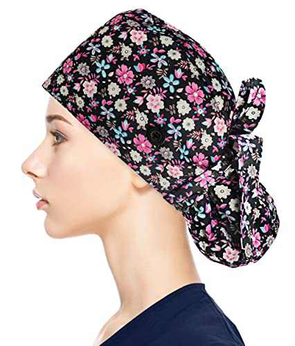 Fesciory Adjustable Working Caps with Button & Sweatband, Women Ponytail Pouch Hats, Long Hair(Multicolor Flower)