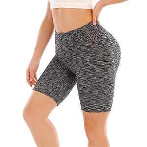 Hanstre High Waist Workout Leggings Scrunch Butt Lift Yoga Shorts for Women Anti Cellulite Textured Tummy Control Yoga Pants Workout Shorts Black