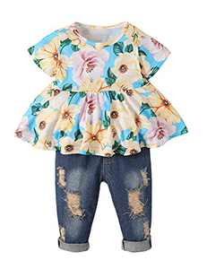 Girls Clothes Outfits Cute Baby Girl Floral Jeans Clothes Flower Summer Ruffle Tops (Blue,12-18 Months)