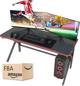 Gaming Desk, Arespark PC Computer Gaming Desk 55 Inch for Gamer, Home Office Desks, Gaming Table Workstation with Carbon Fiber Surface/Cable Management/Large Mouse Pad, Gift for Students and Workman