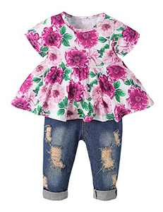 Girls Clothes Outfits Cute Baby Girl Floral Jeans Clothes Flower Summer Ruffle Tops (Purple,6-9 Months)