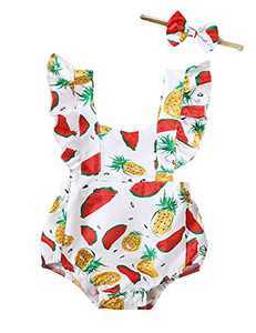 Shalofer Summer Baby Girls Outfits Infant Ruffle Backless Romper (White-Fruit,6-12 Months)