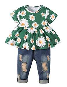 Girls Clothes Outfits Cute Baby Girl Floral Jeans Clothes Flower Summer Ruffle Tops (Green,9-12 Months)