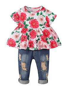 Girls Clothes Outfits Cute Baby Girl Floral Jeans Clothes Flower Summer Ruffle Tops (Red,9-12 Months)