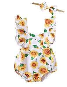 Shalofer Summer Baby Girls Outfits Infant Sunflower Backless Romper (Sunflower,6-12 Months)