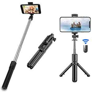 Selfie Stick Tripod, Extendable Lightweight Tripod Stand with Bluetooth Remote Compatible with iPhone 12/11/10/XR/X/Pro and Android Smartphone