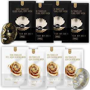 NOHJ Skin Traveller Mask - 8 Set, Selfie Ready Gold Rose Korean Facial Skincare, A Must-have for girls night, Rose Aqua Calming & Black Pearl Pore Mask for hydrating, Shining Skin, K-Beauty Mask Pack