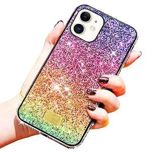 Agedate Compatible with iPhone 11/12 Case, 3D Glitter Shockproof Girls Women Protective Phone Case, Unique Gradient Color Phone Case (iPhone 11 Promax)