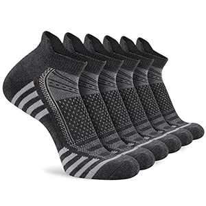LITERRA Mens Ankle Socks 6 Pairs Mens Breathable Athletic Running Socks Cushioned Sole Low Cut Socks With Tab