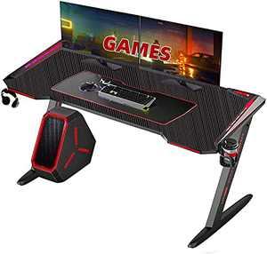 """Gaming Desk, Arespark Computer Desk with 7 Mode LED Light, 55"""" Home Office Desks PC Desk Writing Desk, Gaming Table Workstation, Z-Shaped Computer Gaming Desk & Carbon Fiber Surface"""