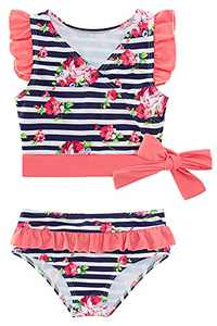 Infant Girls Two Piece Swimsuits 12-18 Months Flutter Sleeve Bikini Sets Striped Bathing Suits Pink Flower Printed Ruffled Tulle Layers Bottom Swimwear for Summer Holiday Swimming Lesson