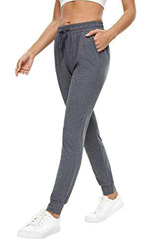 BATHRINS Women Tapered Joggers with Pockets – Casual Yoga High Waist Sweatpants Heather Charcoal