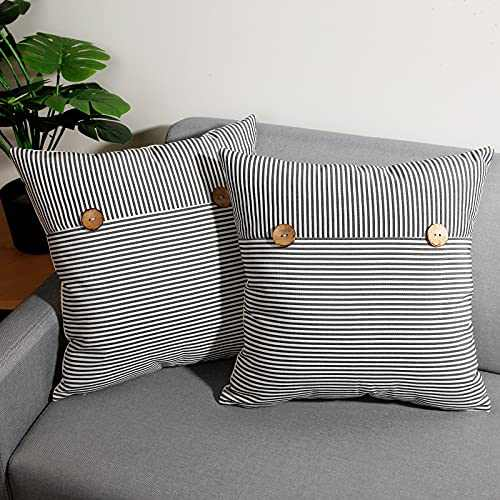 cygnus Set of 2 Farmhouse Decorative Pillow Covers 18x18 Inch Black and White Stripe Throw Pillow Covers with Buttons for Couch Sofa Bed