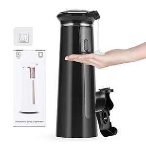 Automatic Soap Dispenser,HAANEW Touchless Soap Dispenser Hand Soap Dispenser for Batheroom Waterproof Base Wall Mount Kitchen Soap Dispenser for Kitchen Sink,11.8oz/350ml(Black)