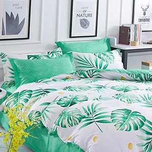 Summer Leaf Duvet Cover Queen Size - 3 Piece Farmhouse Tropical Jungle Printed Reversible Microfiber Comforter Cover Set - Soft and Lightweight Botanical Leaves Pattern Quilt Cover, White and Green