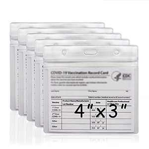 CDC Vaccination Card Protector 4 X 3 in Immunization Record Vaccine Card Holder Clear,Waterproof PVC Vaccine Card Holder Cover Resealable Zip Vaccine Card ID Card Holder Badge Holder (5 Pack)