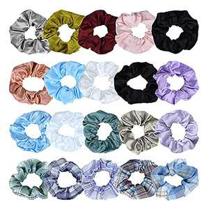 TEQIFU 20 Pcs Fashionable Fabric Elastic lLadies Hair Bands For Girls Wrapping Simple Ponytail Decorative Hair Bun, Suitable As a Girl's Holiday Gift, The Girl's Favorite Gift