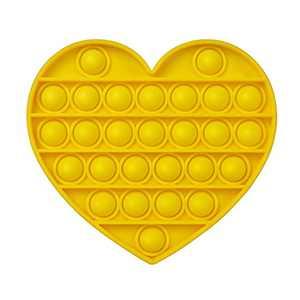 AKUDY Push Pop Bubble Fidget Toy, Sensory Fidget Toys for Kids Adults, One Side Louder Push Bubbles Pop, Fidget Popper Stress Reliever Toys for ADHD Autism Special Needs Fidget Toy - Love Yellow