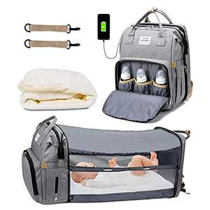 DIIQII Diaper Bag Backpack with Changing Station, Large Capacity Foldable Waterproof Baby Travel Bassinet Bag with Sunshade USB Charging Port and Stroller Straps (Grey)