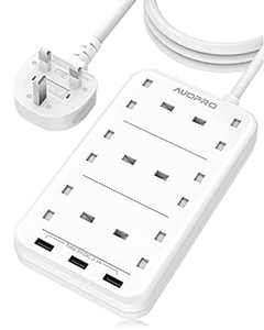 Extension Lead with USB Slots, 6 Way Plug Extension 3 USB, Multi Plug Electric Power Extension, Power Strip Surge Protection, 3250W/13 Amp, Extension Cable 2 M for Home and Office, White