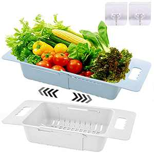 2 Pack Over the Sink Colander Strainer Basket, Kitchen Extendable Strainers and Colanders BPA-Free Drain Basket for Food, Fruits, Vegetables, Noodle, Pasta with 2 Hooks - White, Green